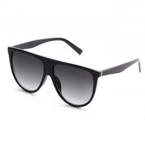 5c5dbf6587 Black Oversized Flat Top Sunglasses 400 UV Free Case